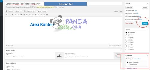 membuat blog, wordpress, blog, konten area