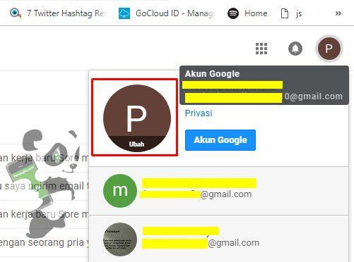 Mengganti foto profil di Gmail