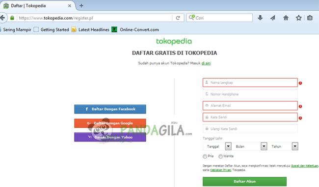 tokopedia, mendaftar, penjual, pembeli, member, form pendaftaran