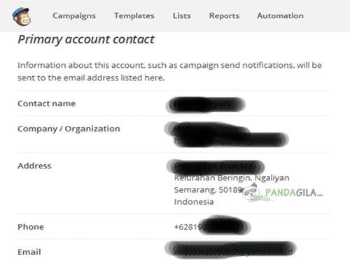 Mailchimp, personal info, biodata