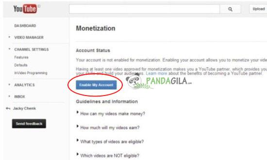 Google Adsense,YouTube,menghubungkan