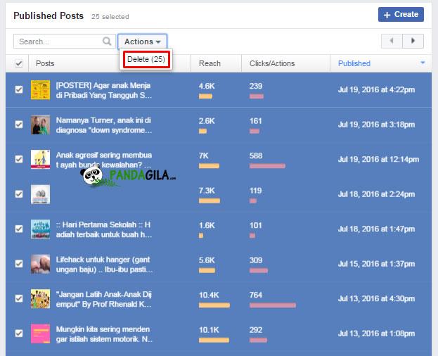 published post,facebook,fanspage