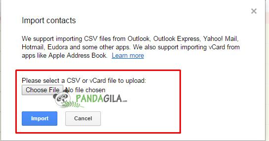 google contact,upload csv