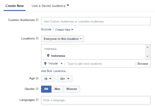 3. Tentukan Target Audience Facebook Ads