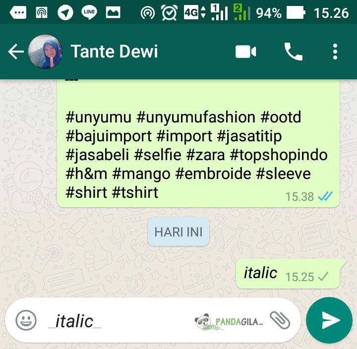 Cara membuat huruf cetak miring di WhatsApp