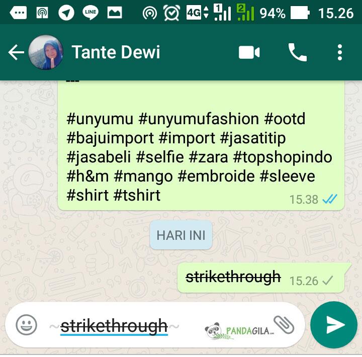 Membuat huruf garis coret di WhatsApp