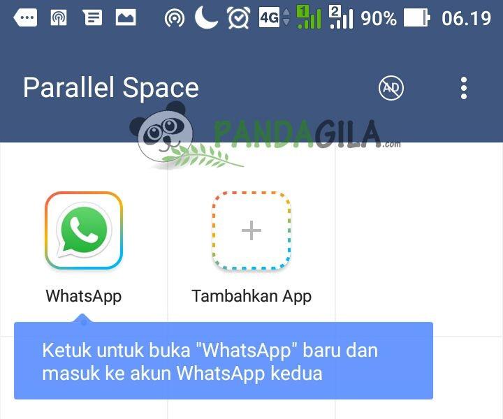 Tampilan WhatsApp di Parallel Space setelah selesai dikloning