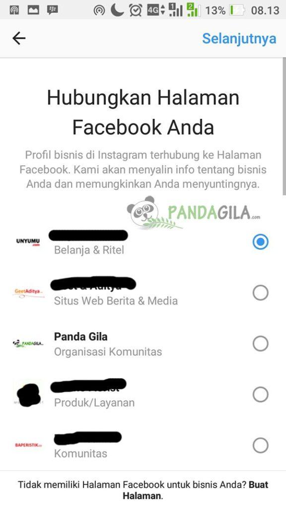 Step 4, pilih fanpage yang terkait dengan bisnis Anda