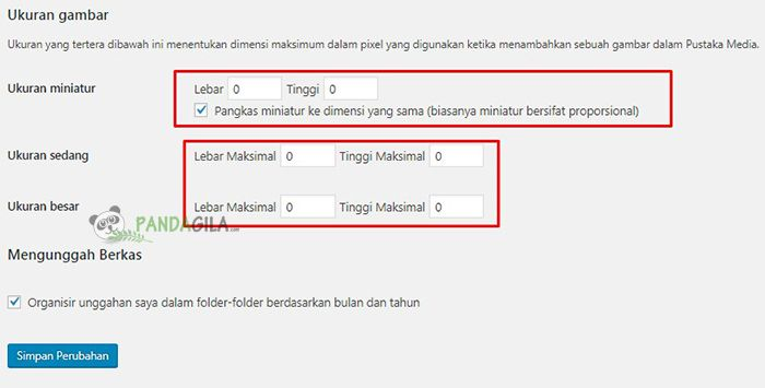 Pengaturan Media di WordPress