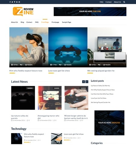 ReviewZine- Theme WordPress Gratis Responsif