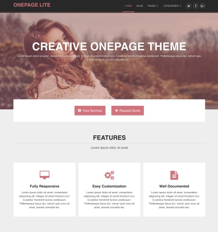 One Page Lite- Theme WordPress Gratis Responsif