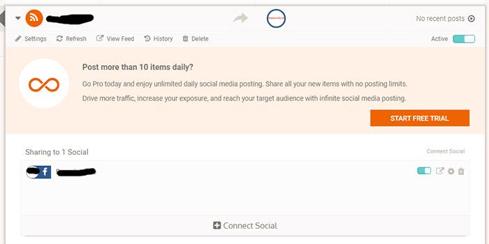 Hubungkan feed dengan media sosial