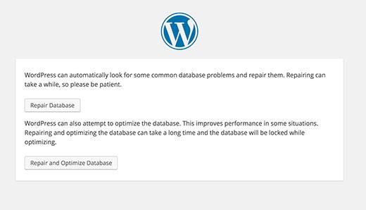 Repair database di WordPress