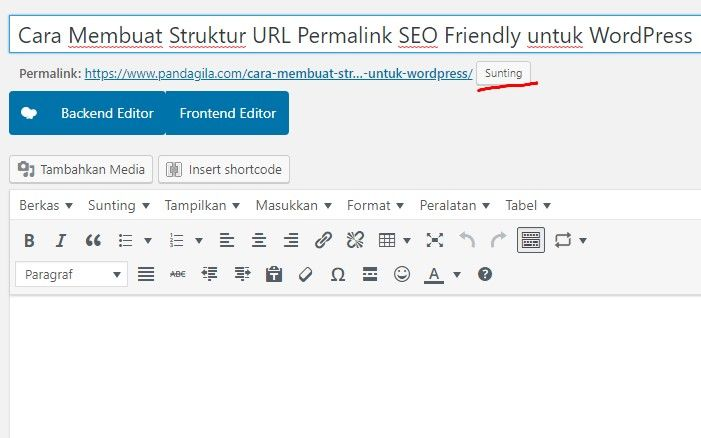 Cara edit URL permalink di artikel WordPress