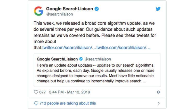 Tweet Google Liaison terkait perubahan algoritma
